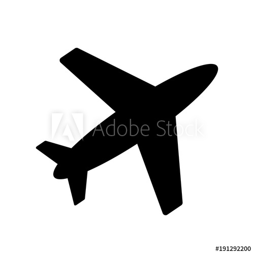 500x500 Airplane Vector Icon Black, Fly, Transport