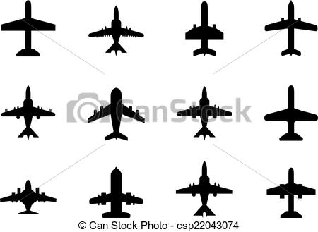 450x329 Vector Icons Of Airplanes. Vector Icons Of Airplanes On White