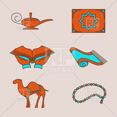 400x400 Arabic Icons With Camel, Carpet And Aladdin Lamp Vector Image