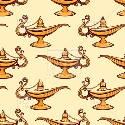 400x400 Seamless Pattern With Golden Magic Aladdin Lamp Vector Image