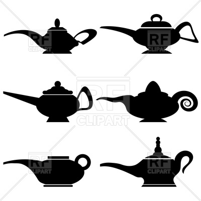 400x400 Silhouettes Of Lamps Of Aladdin Vector Image Vector Artwork Of