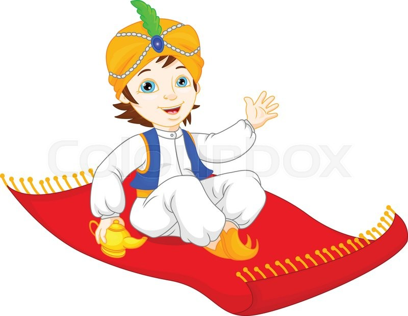 800x619 Vector Illustration Of Aladdin On A Flying Carpet Traveling