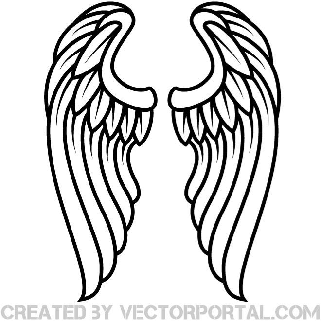 660x660 Free Hand Drawn Angel Wings Vector 123freevectors