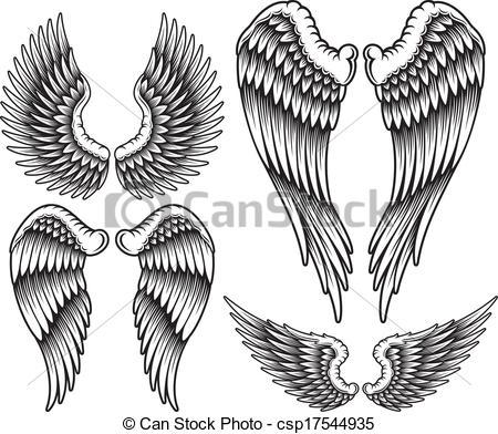 450x392 Set Of Wings. Fully Editable Vector Illustration (Editable Eps
