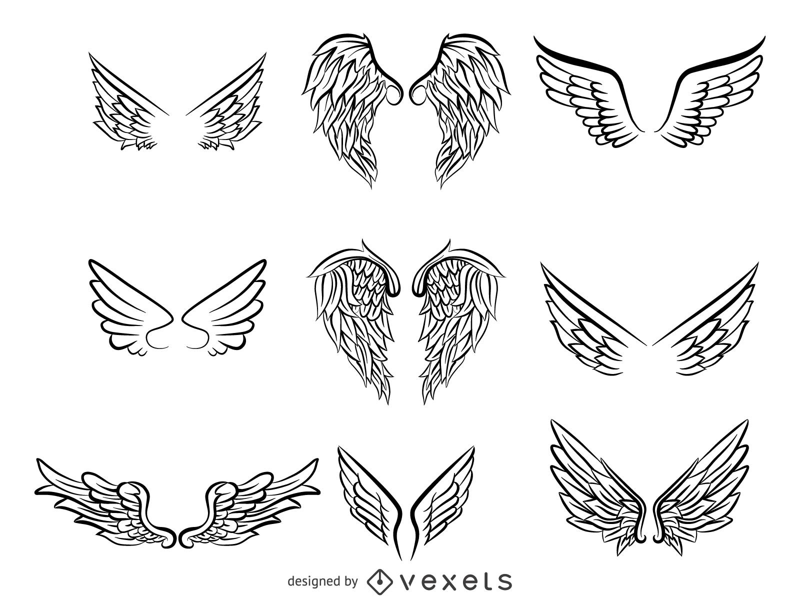 1600x1202 Sketchy Wings Pack Vector
