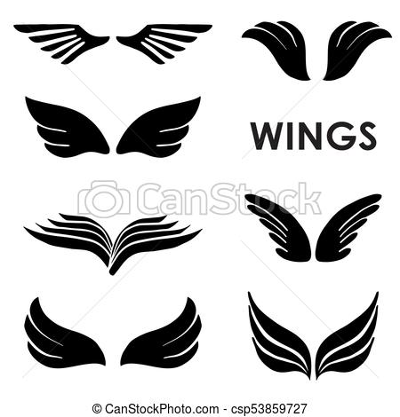 450x470 Vector, Siluetas, Conjunto, Seis, Alas. Conjunto, Logotipos