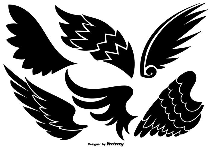 700x490 Vector Set Of Angel Wings Black Icons