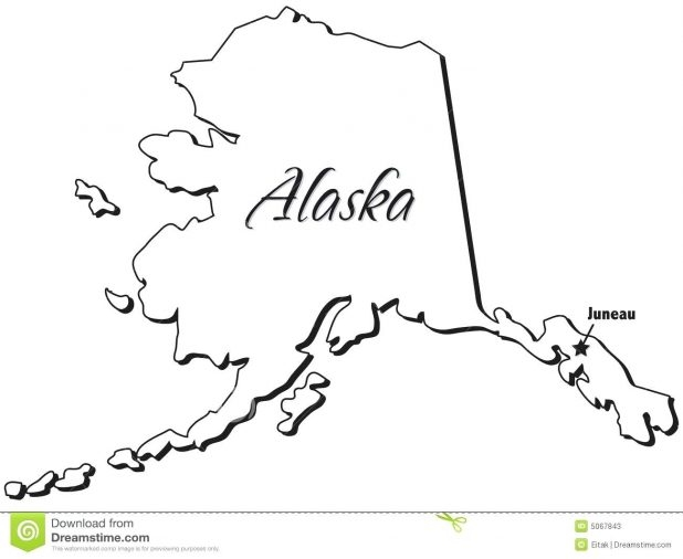 618x506 Alaska Map Outline Vector Blank North Map 149 Enchanting Alaska