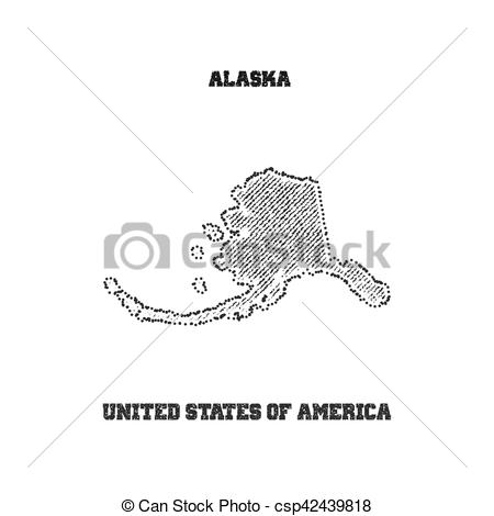 450x470 Label With Map Of Alaska. Vector Illustration.