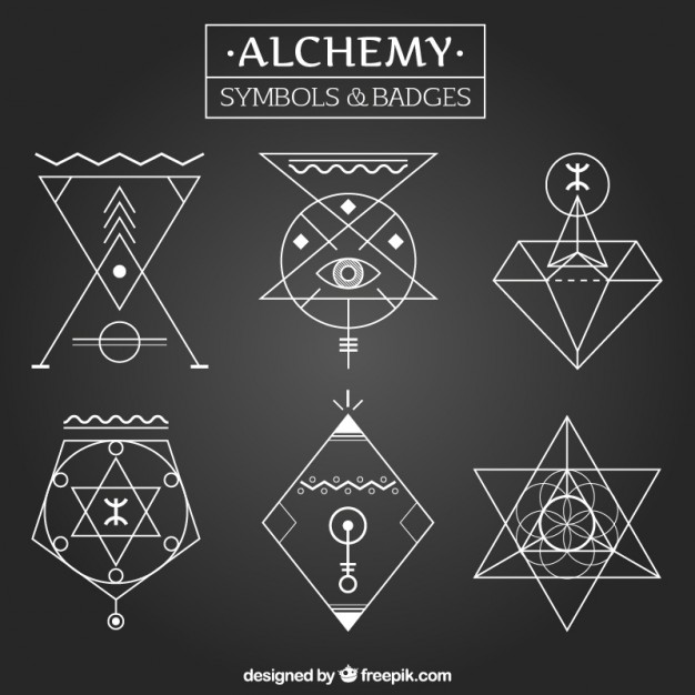 626x626 Alchemy Symbols And Badges In Linear Style Vector Free Download