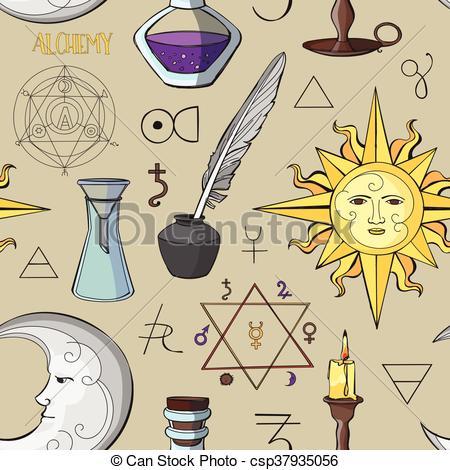450x470 Alchemy Symbols Pattern. Set Of Trendy Symbols Collection. Vector
