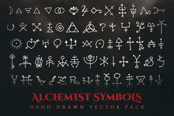 580x386 Esoteric Alchemy Symbols Vector Pack @creativework247 Graphic