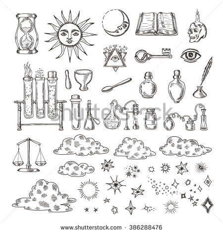 450x470 Set Of Trendy Vector Alchemy Symbols Collection Isolated On White