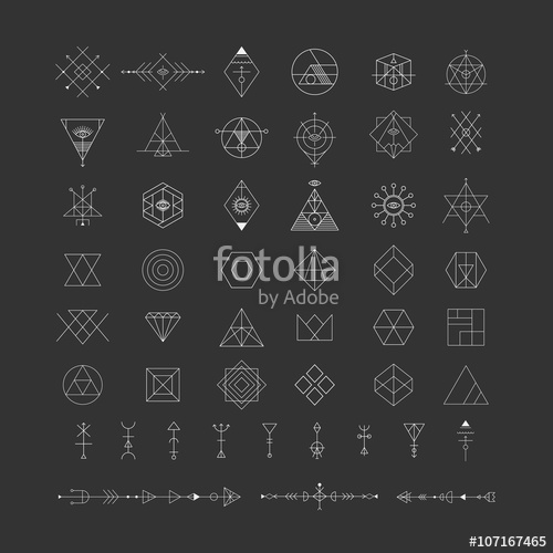 500x500 Set Of Vector Trendy Geometric Icons. Alchemy Symbols Collection
