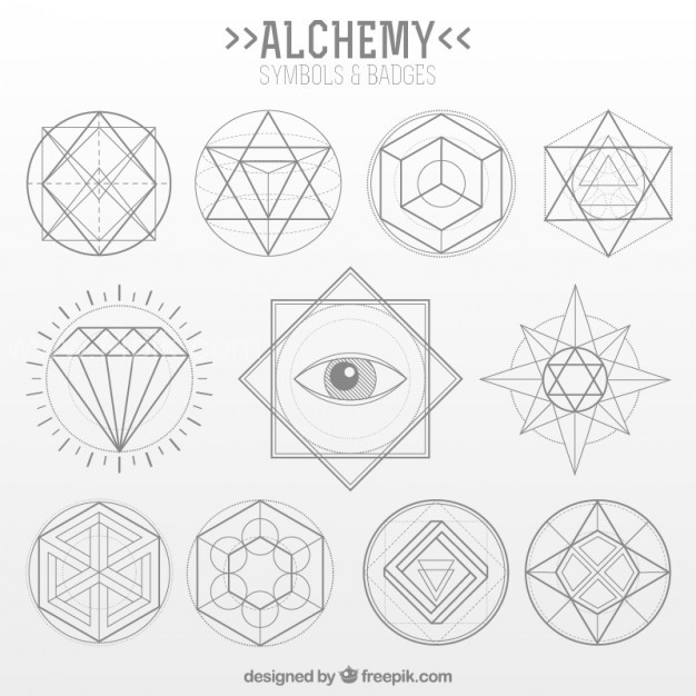 626x626 Vector ] Collection Of Alchemy Symbol In Linear Style Free