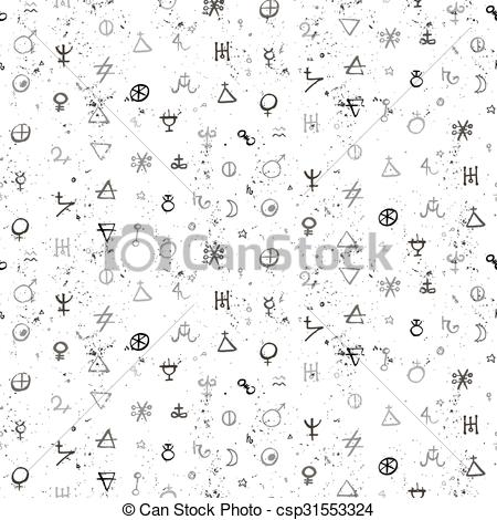 450x470 Vector Geometric Pattern With Alchemy Symbols And Shapes In Small