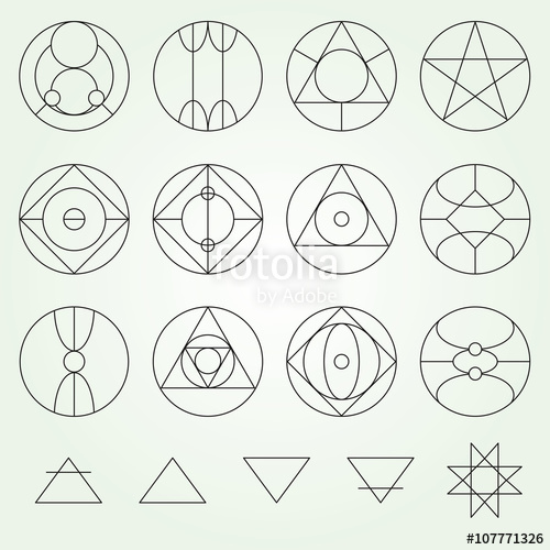 500x500 Alchemy Symbols Collection Vector Set, Thin Line (Variable Line