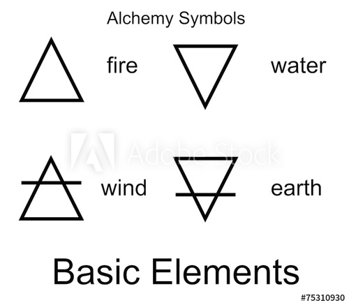 500x437 Alchemy Vector Icons. Four Elements.