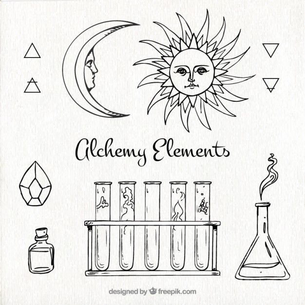 626x626 Hand Drawn Alchemy Elements Collection Free Vector Vectors