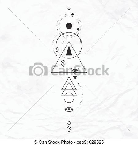 450x470 Modern Geometric Alchemy Symbol. Vector Geometric Alchemy