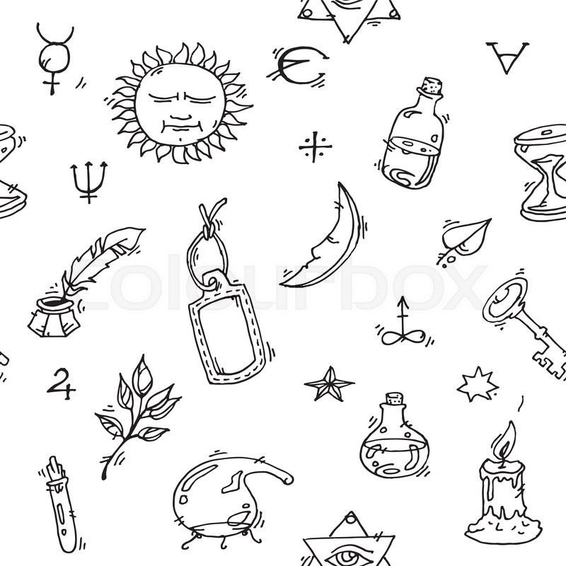 800x800 Pattern Of Trendy Vector Alchemy Symbols Collection On White
