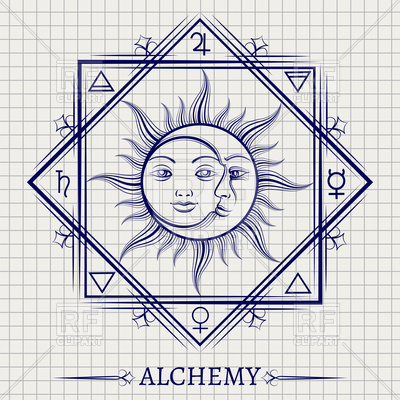 400x400 Sketch Of Sun Moon And Other Alchemy Elements Vector Image