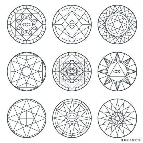 500x500 Spiritual Alchemy Vector Symbols. Medieval Geometry Sacred Vector