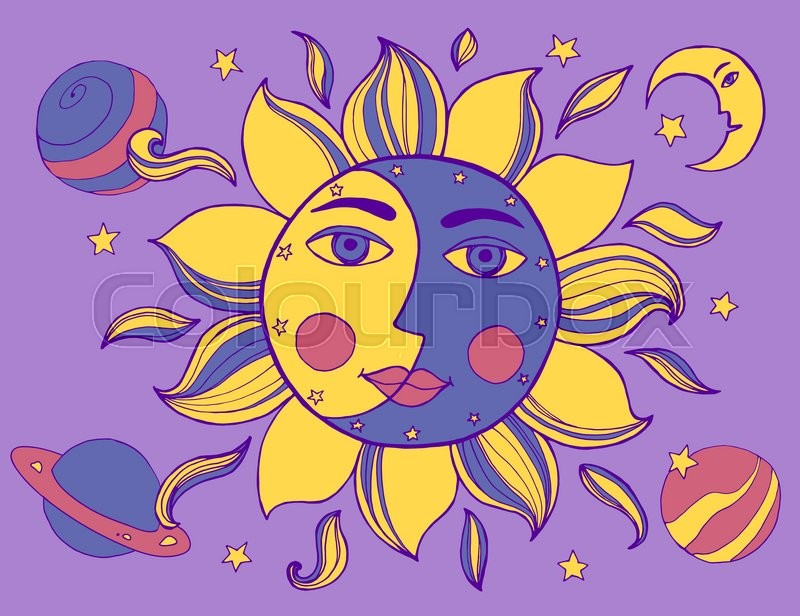 800x616 Sun And Moon In One Face. Alchemy Vector Illustration Stock