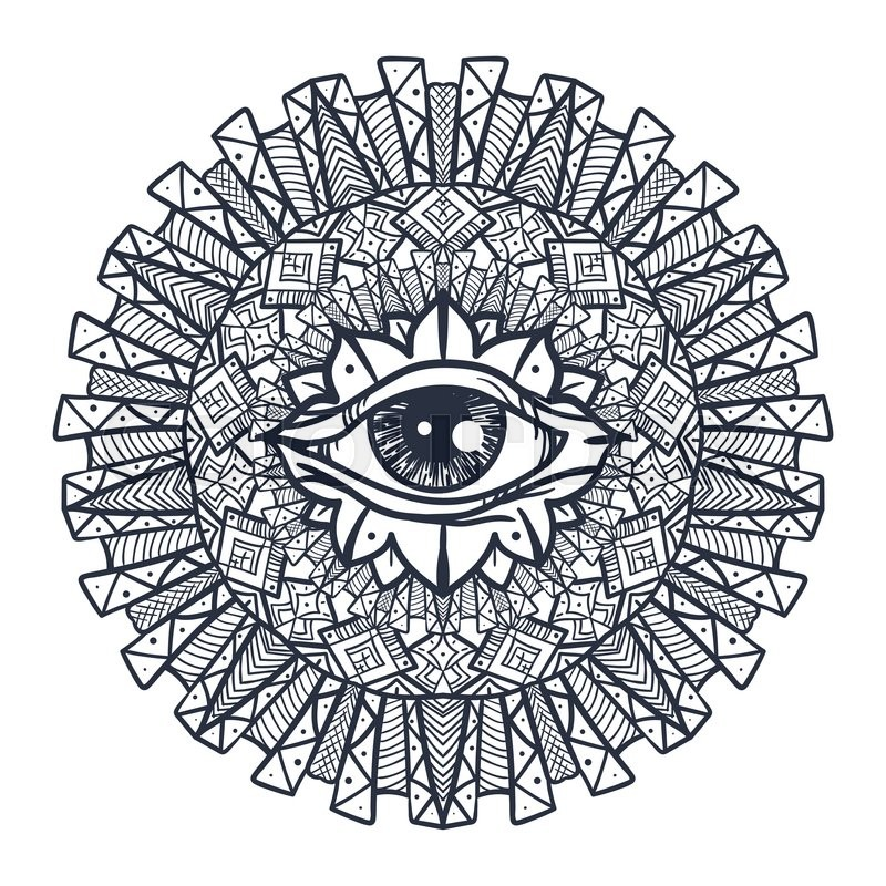 800x800 Vintage All Seeing Eye In Mandala. Providence Magic Symbol For