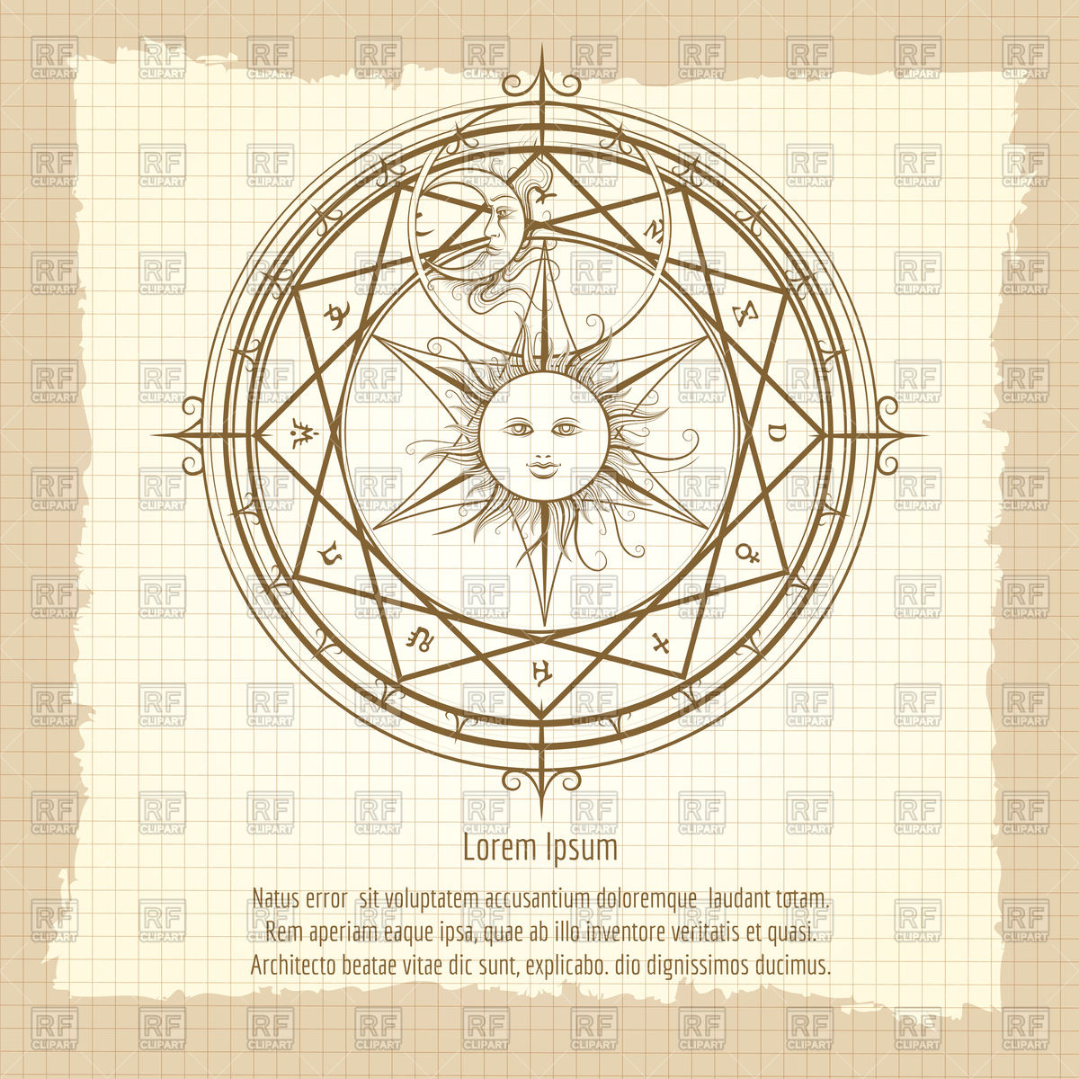 1200x1200 Vintage Occult Hermetic Circle. Alchemy Sign. Vector Image