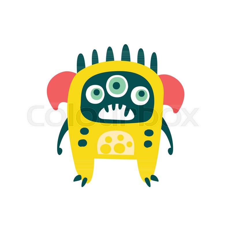 800x800 Cute Yellow Cartoon Monster, Fabulous Incredible Creature, Funny