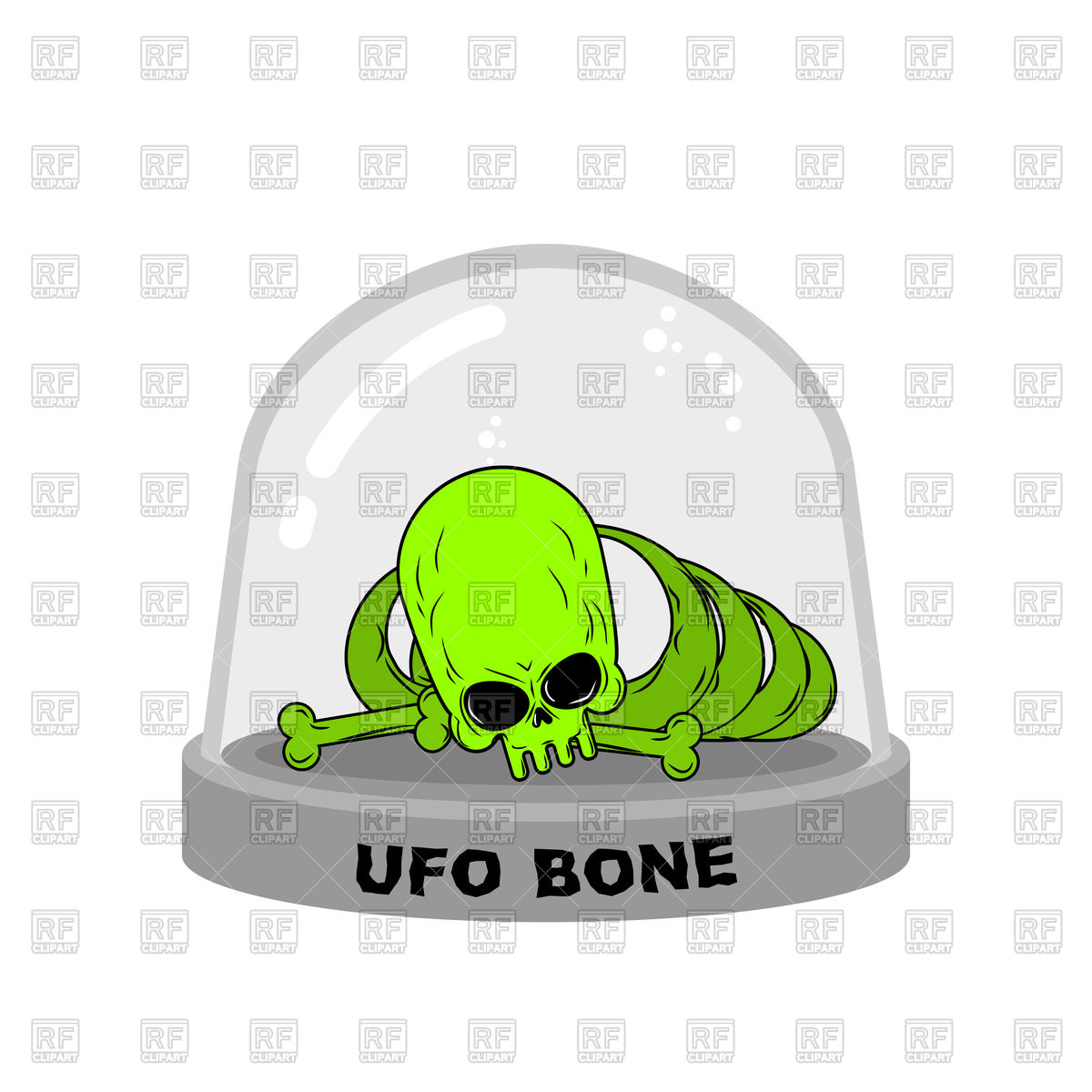 1200x1200 Ufo Green Bones In Glass Bell, Skull Of Alien Vector Image