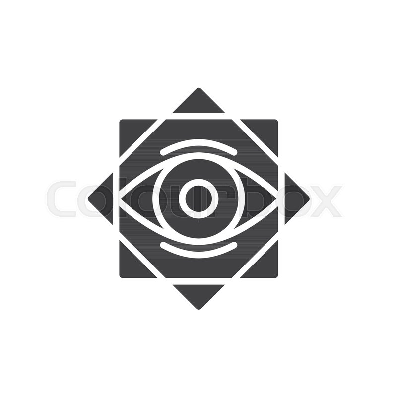 800x800 Eight Pointed Star With All Seeing Eye Vector Icon. Filled Flat