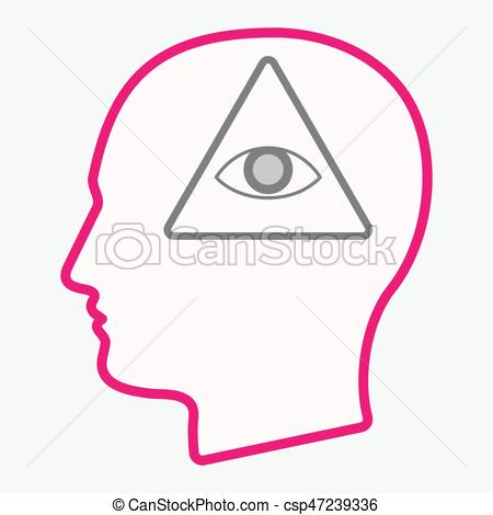 450x470 Isolated Head With An All Seeing Eye. Illustration Of An Isolated