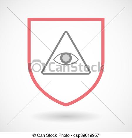 450x470 Isolated Line Art Shield Icon With An All Seeing Eye. Illustration