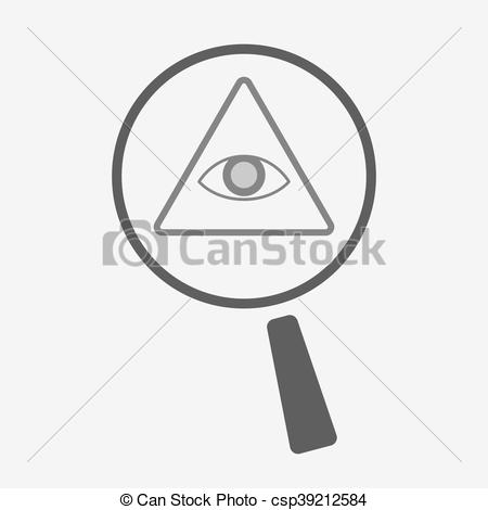 450x470 Isolated Magnifier Icon With An All Seeing Eye. Illustration Of An
