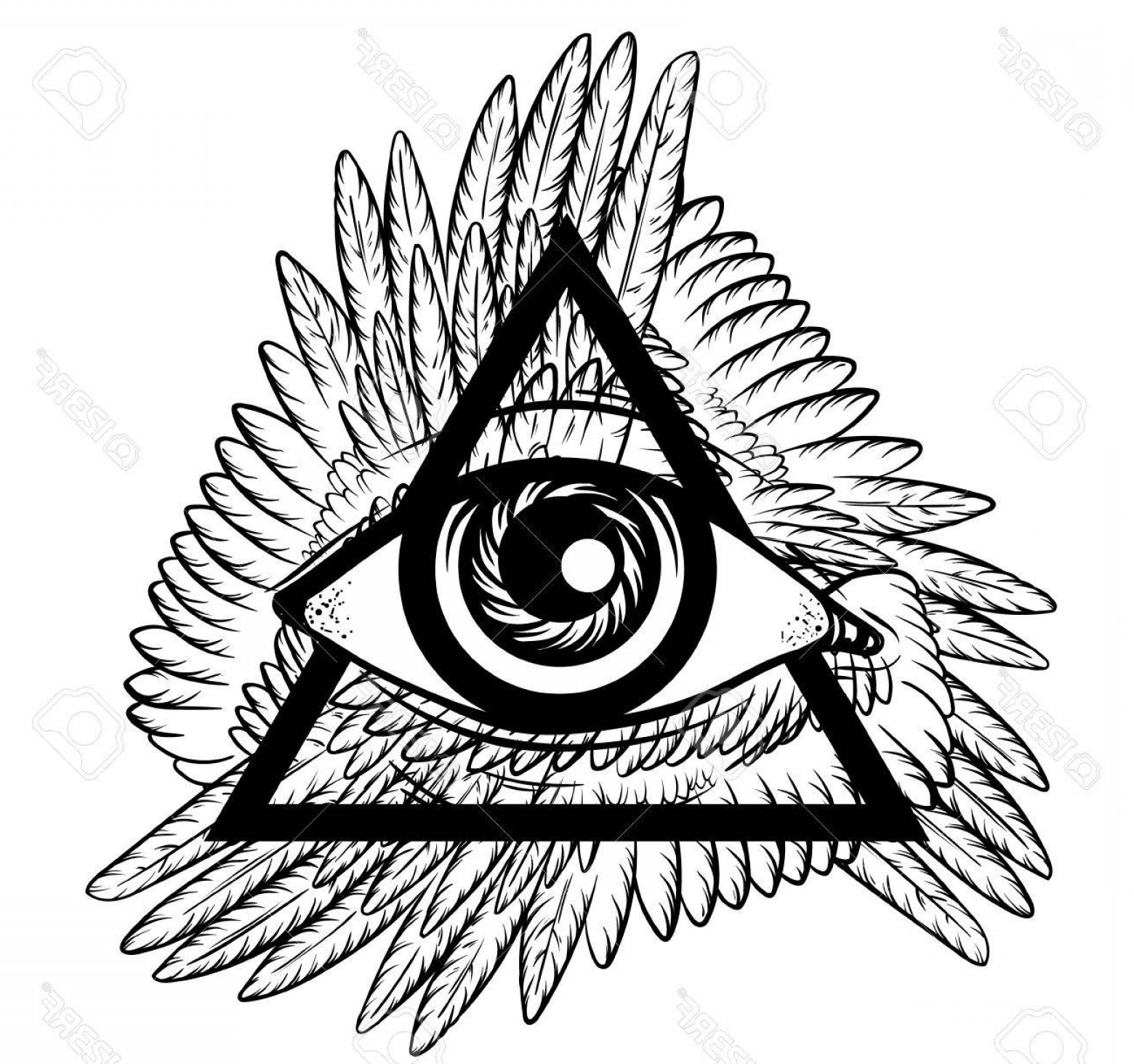 1560x1464 Photostock Vector Vector Hand Sketched Illustration All Seeing Eye