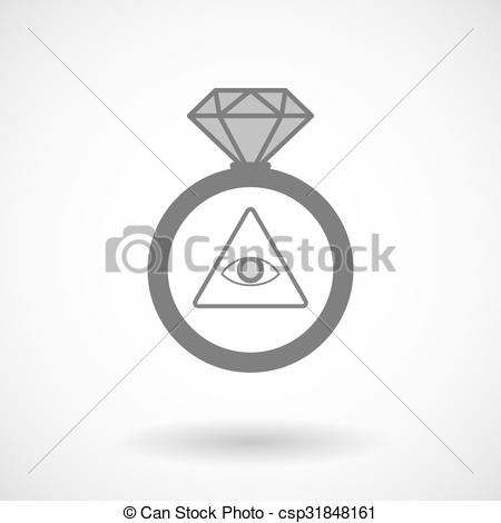 450x470 Vector Ring Icon With An All Seeing Eye. Illustration Of An