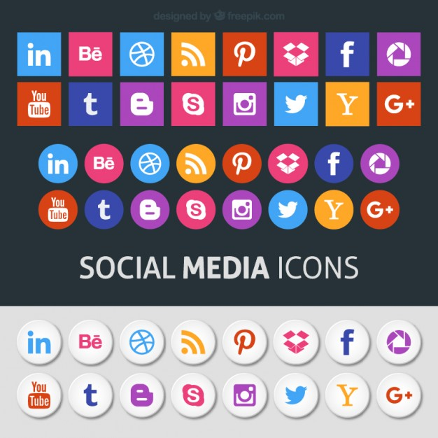 626x626 Colored Social Media Icons Vector Free Download