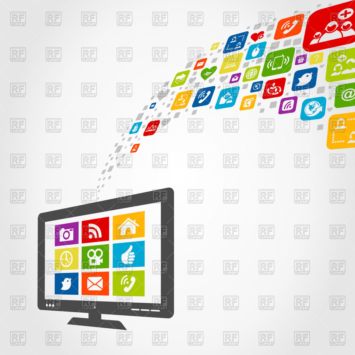 1200x1200 Computer Monitor With Social Media Icons Vector Image Vector