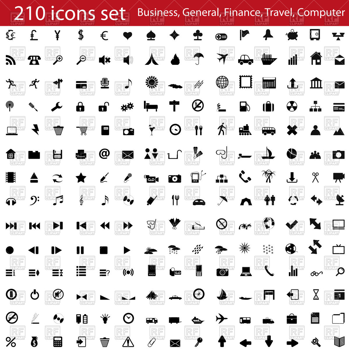 1200x1200 Set Of Colorful Business And Social Media Icons Vector Image