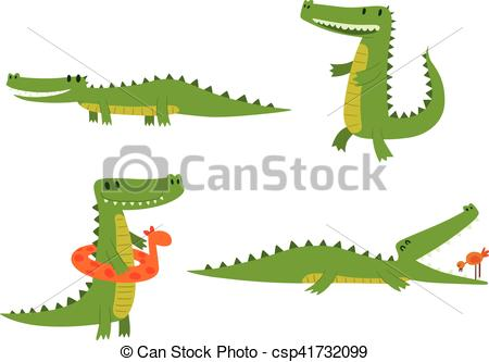 450x333 Cute Crocodile Character Vector. Cute Cartoon Crocodile Character