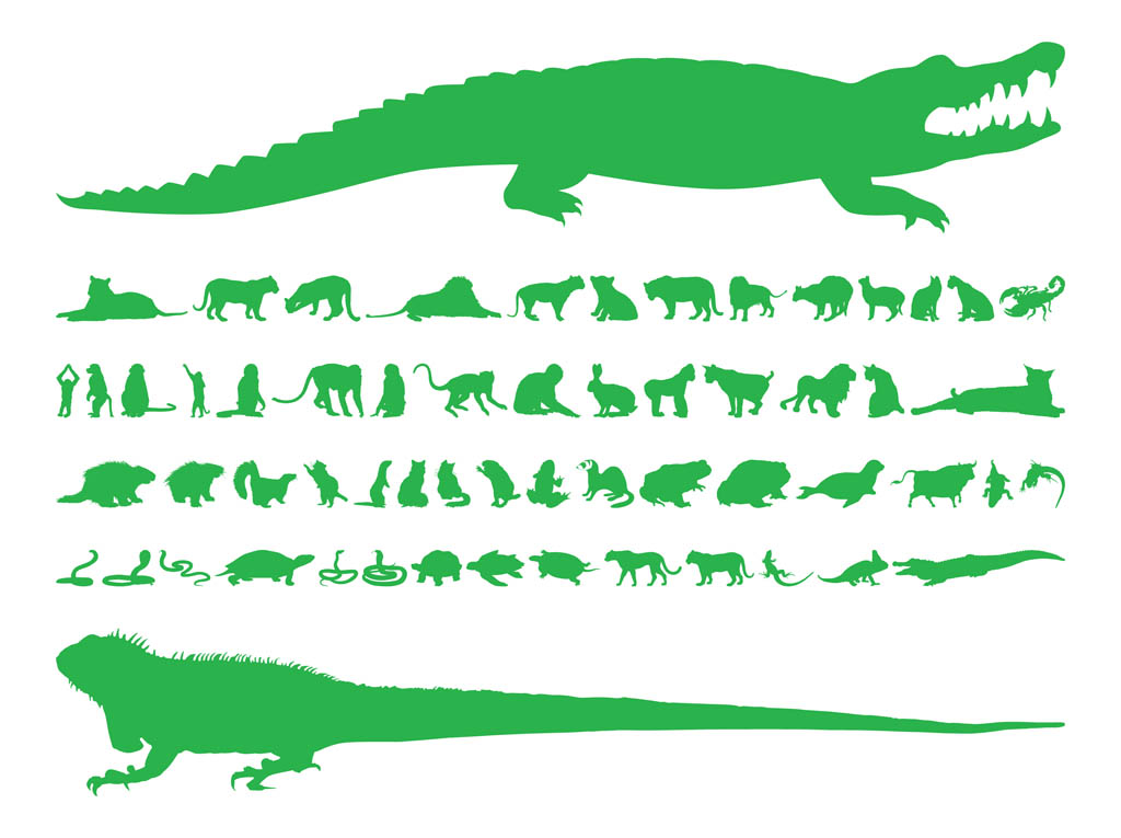 1024x765 Animal Silhouettes Set Vector Art Amp Graphics