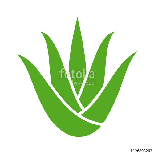 500x500 Green Aloe Vera Plant With Leaves Flat Color Icon For Apps And
