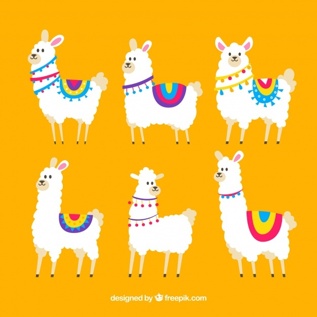 626x626 Cute Alpacas Pattern With Nature Vector Free Download