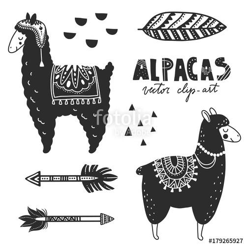 500x500 Hand Drawn Monochrome Vector Illustration. Llamas Or Alpacas