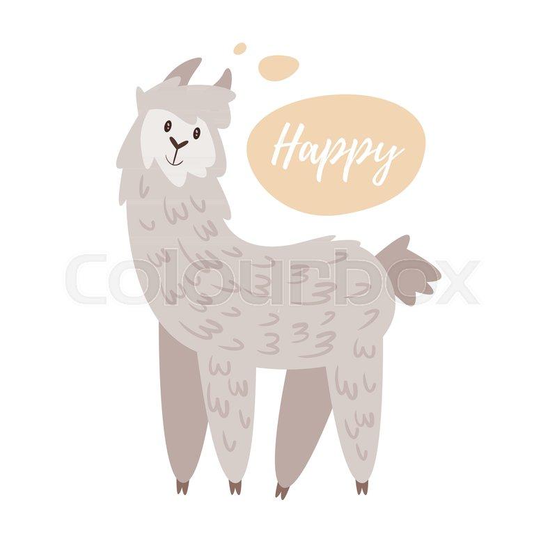 800x800 Vector Cartoon Style Illustration Of Cute Alpaca, Isolated On
