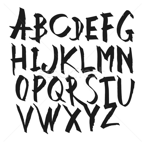600x600 Hand Drawn Calligraphy Alphabet. Uppercase Letters. Vector Alpha