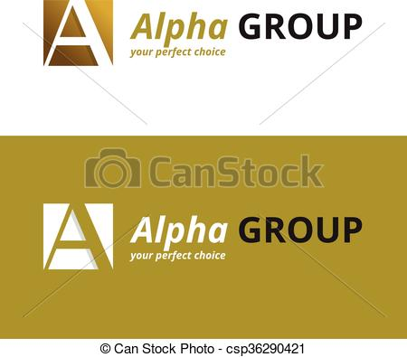 450x395 Vector Minimalistic Negative Space Greek Letter Logo. Alpha
