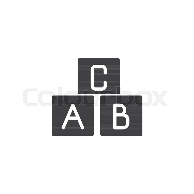 800x800 Alphabet Blocks Vector Icon. Filled Flat Sign For Mobile Concept
